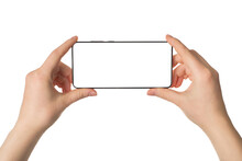 Traveling And Making Selfie Concept. Pov Cropped Close Up Photo Of Female Hands Holding Telephone Taking Picture Isolated White Background