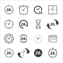 Flat Clock Icon Set Vector Time For Web Design. Time Icon Vector. Simple Flat Style.