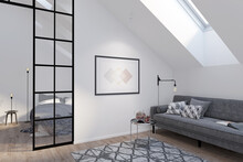 Modern Attic With A Horizontal Poster On A White Wall Between A Gray Sofa With A Coffee Table And A Glass Partition. There Are A Roof Window And A Carpet On The Wooden Floor In The Room. 3d Render