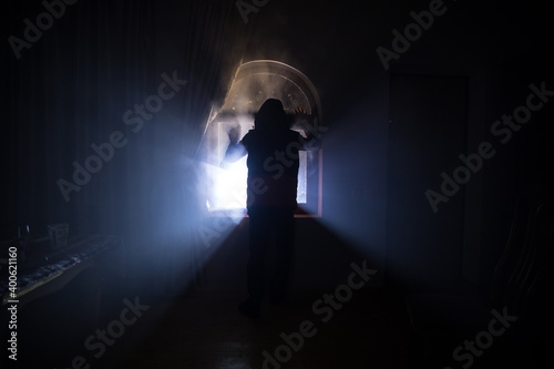 Fototapeta Silhouette of an unknown shadow figure on a door through a closed glass door. The silhouette of a human in front of a window at night. obraz