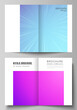 Vector layout of two A4 format modern cover mockups design templates for bifold brochure, magazine, flyer, booklet, annual report. Abstract geometric pattern with colorful gradient business background