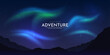 Abstract vector illustration. Minimalistic concept. Night sky with aurora borealis. Realistic landscape. Dark wallpapers. Template for website. Dark background with lights. Mountain silhouette