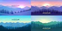 Vector Abstract Background Set. Minimalist Style. Flat Concept. 4 Landscapes Collection. Mountain View, Forest Trees. Geometric Polygonal Design. Website Template. Gradient Color. Sunset Scene. Nature
