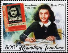 Anna Frank Portrait On Stamp Of Togo
