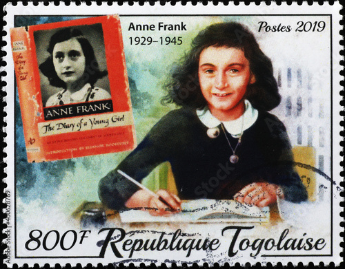 Obraz na plátne Anna Frank portrait on stamp of Togo