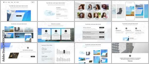 Obraz na plátne Presentation design vector templates, multipurpose template for presentation slide, flyer, brochure cover design, infographic report