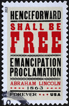 Emancipation Proclamation Issued By Abraham Lincoln On Stamp