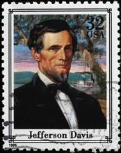 Jefferson Davis Portrait On American Postage Stamp