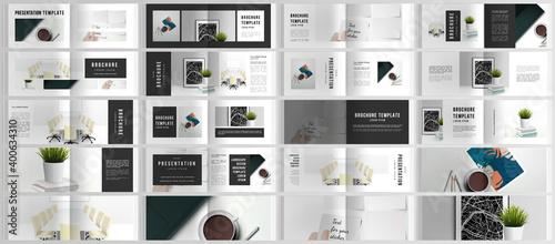 Fototapeta Vector layouts of horizontal presentation design templates for landscape design brochure, cover design, flyer, book design, magazine. Home office concept, study or freelance, working from home. obraz