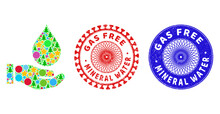 Water Service Mosaic Of Christmas Symbols, Such As Stars, Fir-trees, Colored Round Items, And GAS FREE MINERAL WATER Scratched Stamp Prints.