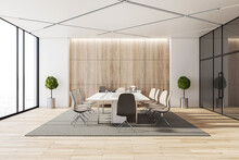 Contemporary Meeting Room Interior With City View