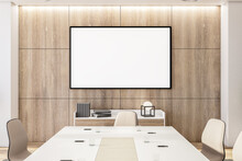 Modern Meeting Room With Mpty Frame On Wooden Wall.