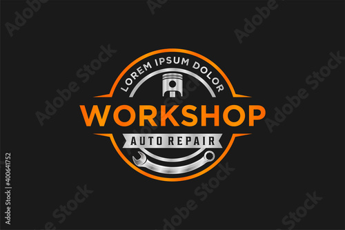 Automotive logo design, vintage style logo for garage workshop with piston gear element