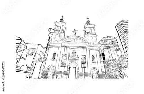 Fototapety, obrazy: Building view with landmark of Cordoba is the City in Argentina. Hand drawn sketch illustration in vector.