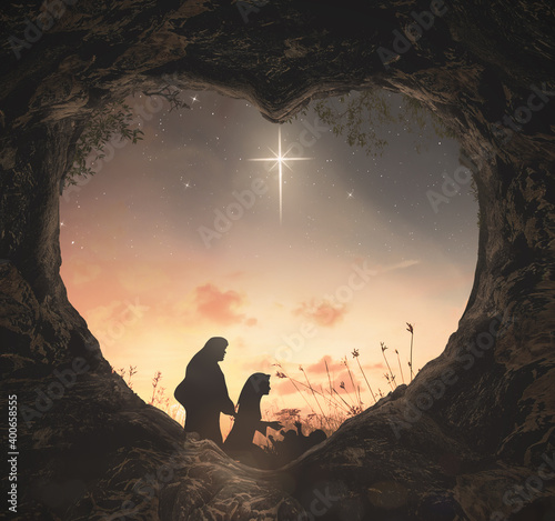 Canvas-taulu Christmas religious nativity concept: Silhouette mother Mary and father Joseph l