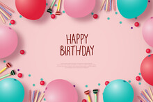 Happy Birthday Background With Balloons On Pink Background