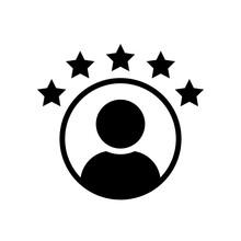 Customer Experience Vector Icon . 5 Star Satisfaction Rating  Vector Icon. Rating Icon. 5 Star Work Experience Symbol.