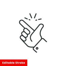 Easy Icon, Finger Snapping Line Sign - Editable Stroke Vector Illustration Eps10