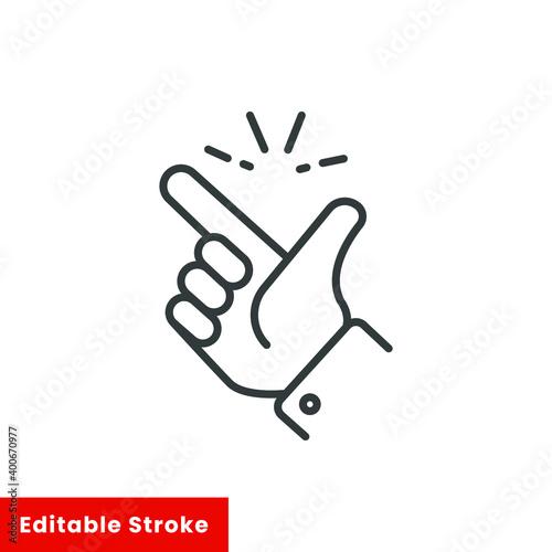 Foto easy icon, finger snapping line sign - editable stroke vector illustration eps10