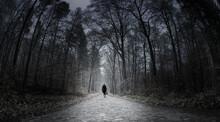 Eine Frau Geht Einsam über Eine Strasse In Einem Dunklen Wald