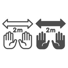 Hands And Limitation In Two Meters With Arrow Line And Solid Icon, Social Distancing Concept, Keep Safe Distance Sign On White Background, Two Meters Separation Icon In Outline Style. Vector Graphics.