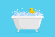 Bathtub With Rubber Duck In Suds. Yellow Duck In Bubbles And Foam Isolated In Blue Background. Vector Illustration In Cartoon Style