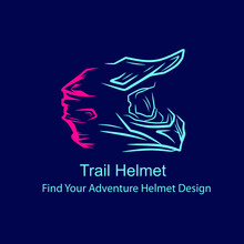 Motocross Helmet Trail Fullface Adventure Line Pop Art Potrait Logo Colorful Design With Dark Background. Abstract Vector Illustration. Dark Minimalist Graphic.