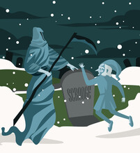 Christmas Carol Tale With Death Ghost And Old Man In Cemetery