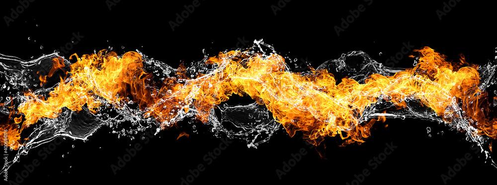 Fototapeta 火と水が渦巻く抽象的な波