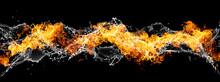 火と水が渦巻く抽象的な波