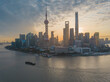 Aerial view of the sunrise in Lujiazui, the financial district in Shanghai, China.