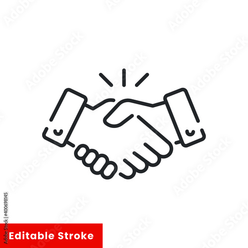 Line icon style commitment meeting agreement. Hand shake for deal contract, partnership, teamwork, business greeting. Simple outline for web app.Vector illustration. Editable stroke EPS 10
