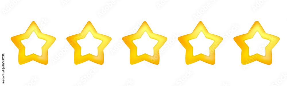Fototapeta 丸みを帯びた星、立体的な星、グラデーションを付けた星