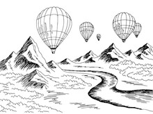 Air Balloon Travel Mountain River Graphic Black White Landscape Sketch Illustration Vector