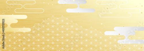 Canvas 日本の伝統模様を用いた横長の背景イラスト