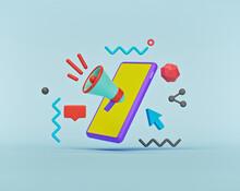 Digital Marketing Concept. Smartphone, Megaphone, Abstract Shapes. Minimal Advertising Banner, Poster. 3d Rendering
