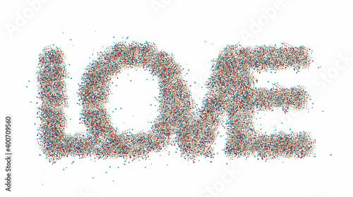 Fotografía Love word particle lettering text.  vector design