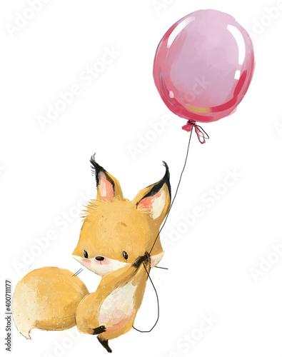 Fototapeta premium cute little fox fly with balloon