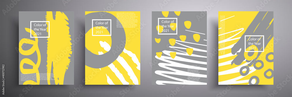 Fototapeta Set of geometric covers. Vector graphics. Trendy colors of 2021 year - gray and yellow. Modern abstract flyers, covers.