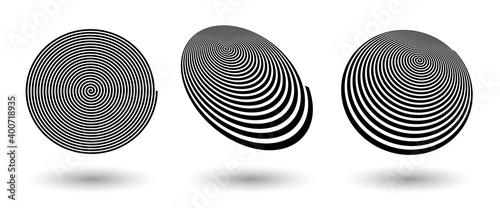 Canvas spiral lines like logo or icon with differents perspective