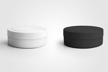 Mockup Of A Plastic White, Black Jar For Skin Care Cream, For Design Presentation, Advertising In A Pharmacy, Medicine.
