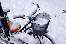 Snowy Old Bike On A Winter  Street