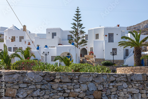 View of the white villas in Folegandros Island, Greece.
