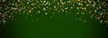 Festive Bokeh On A Green Background. Merry Christmas And Happy New Year. Backgrounds For Decoration. The Yellow Stars.