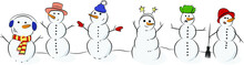 Six Snowmen In Different Clothes With Carrot Noses. Snowmen In Funny Hats.