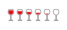 Red Wine Glasses From Full To Empty. Vector