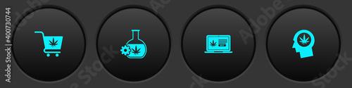 Tela Set Shopping cart with marijuana, Test tube, Online buying and Head profile icon