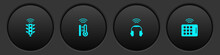 Set Smart Traffic Light, Thermometer, Headphones And Wireless Tablet Icon. Vector.