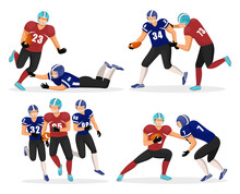 Collection Of Gridiron Players. Set Of People Playing American Football Split Into Teams. Footballers With Ball Trying To Win Match. Male Characters Isolated Groups Of Members. Vector In Flat