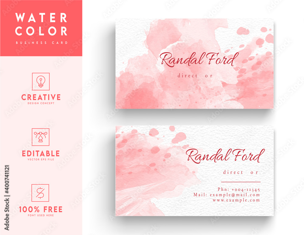 Fototapeta Pink and white aesthetic business id card template design